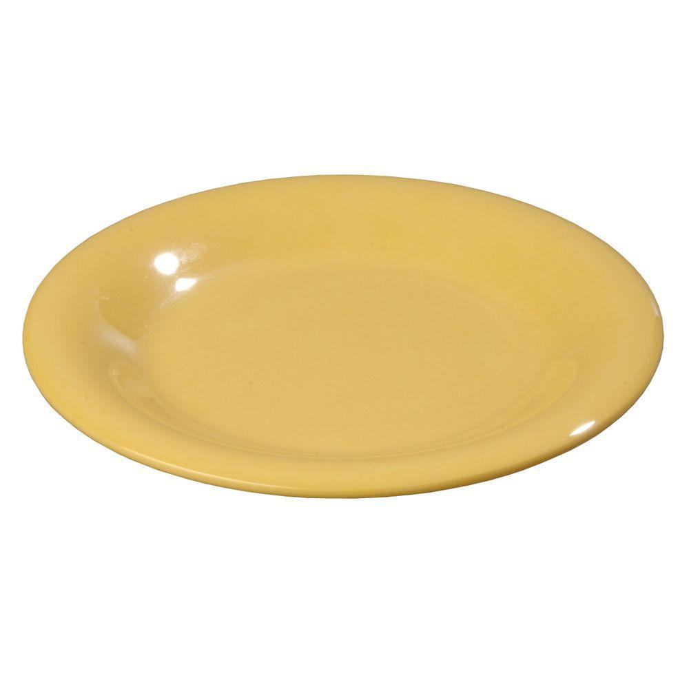 6.5 in. Diameter Melamine Pie Plate in Honey Yellow (Case of 48)