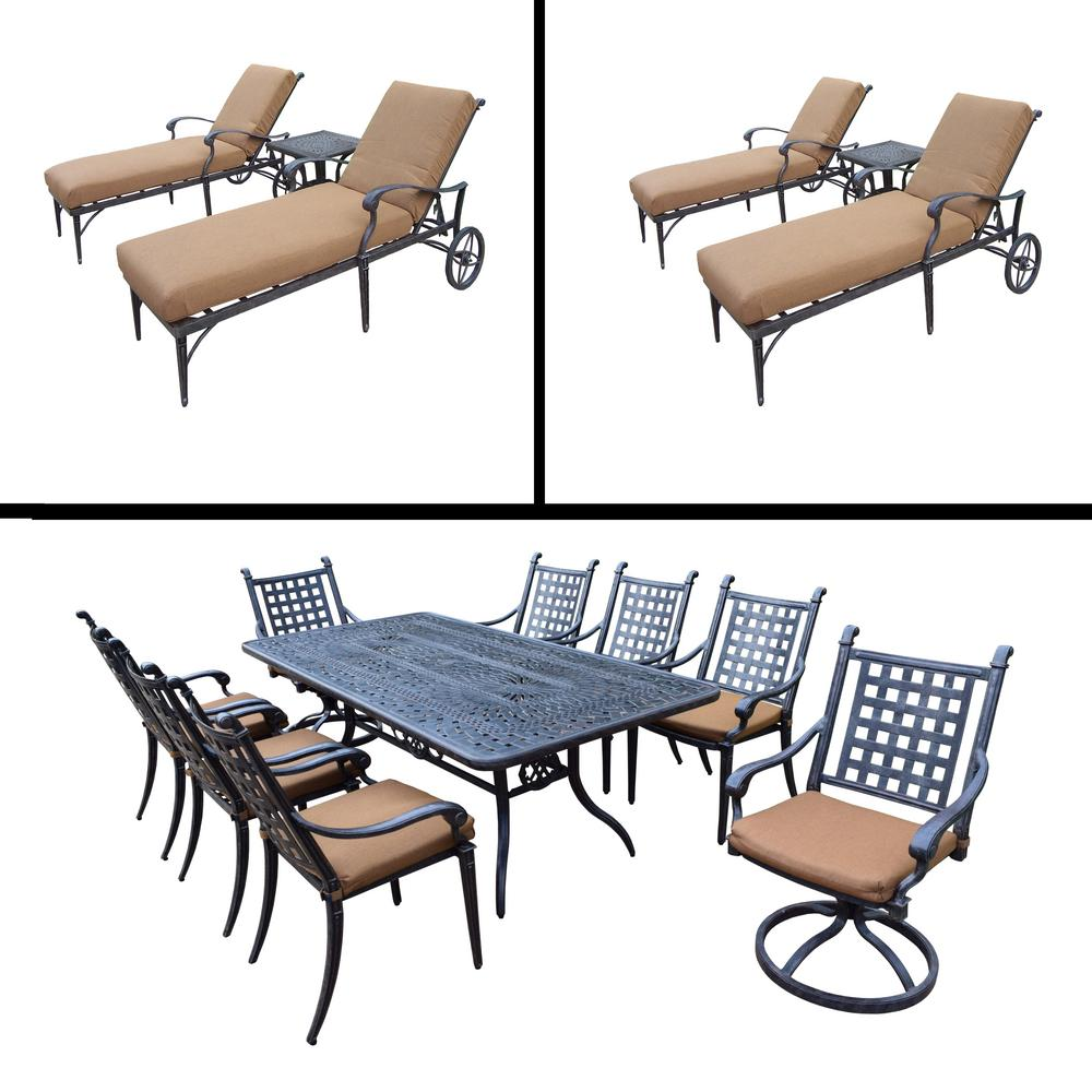 Belmont Premier 15-Piece Aluminum Outdoor Dining Set with Sunbrella Brown