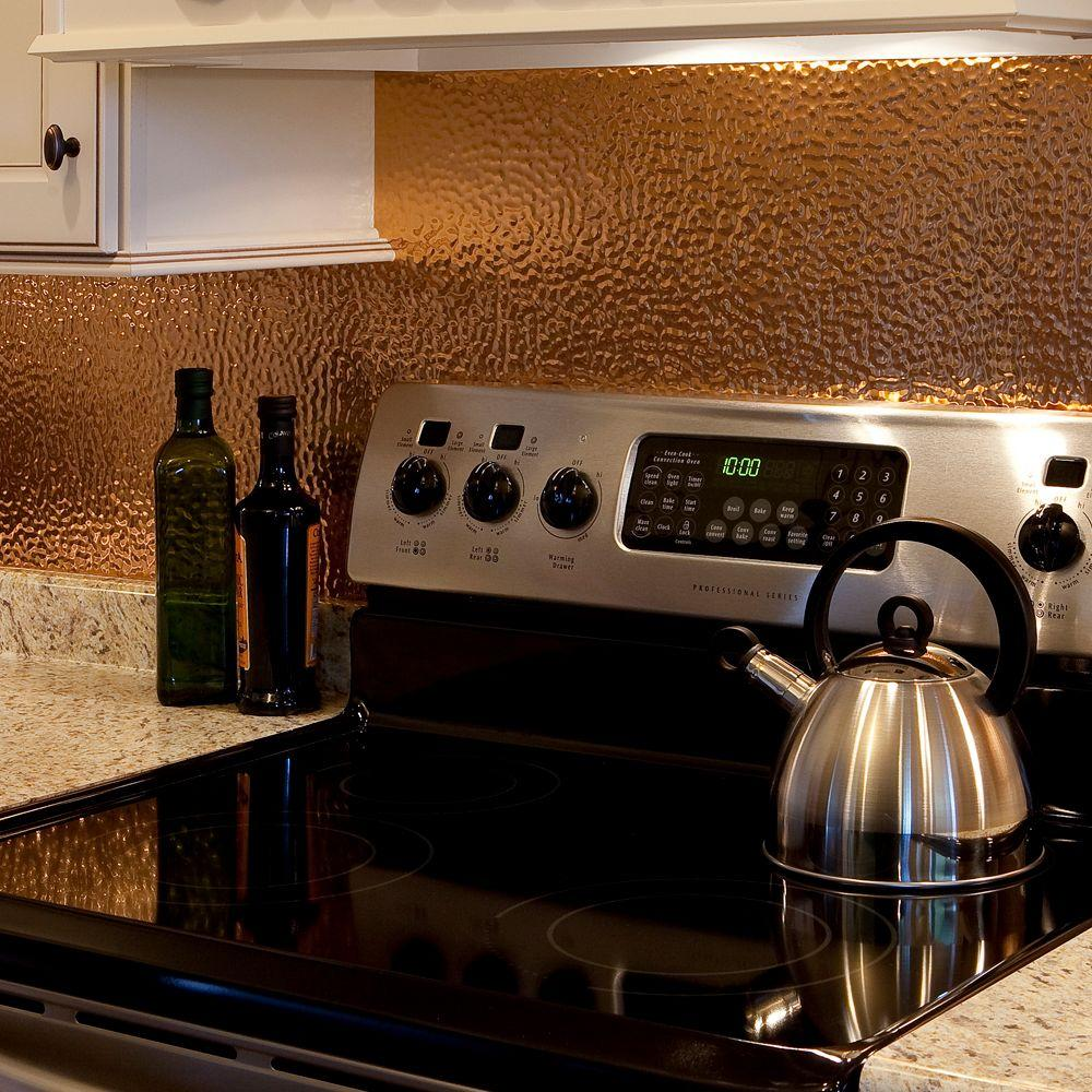 Fasade 18 in x 24 in hammered pvc decorative backsplash panel in polished copper b55 25 the - Kitchen backsplash panel ...