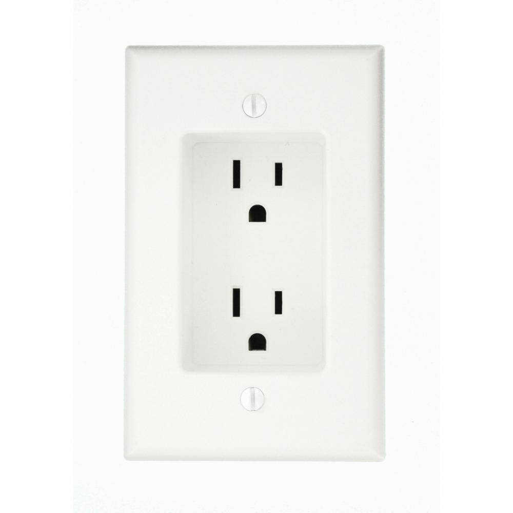 Leviton 15 Amp 1-Gang Recessed Duplex Power Outlet, White-R52-00689 ...