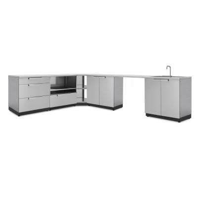 Stainless Steel 8-Piece 112.38 in. W x 36.5 in. H x 24 in. D Outdoor Kitchen Cabinet Set with Countertops and Covers