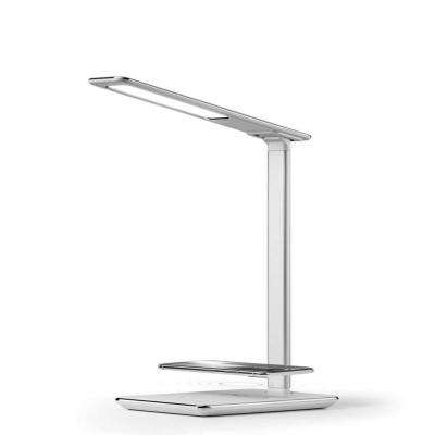 16 in. White LED Desk Lamp with Qi Wireless Charger, USB Charger, Dimmer, Adjustable Arm and Base and Touch Activation