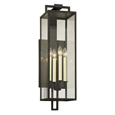Beckham 4-Light Forged Iron 28.5 in. H Outdoor Wall Mount Sconce with Clear Glass