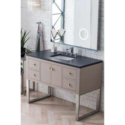 Westlake 48 in. Single Bath Vanity in Mountain Mist with Quartz Vanity Top in Charcoal Soapstone with White Basin