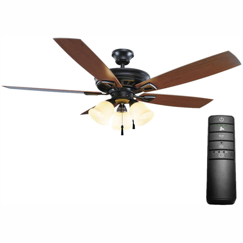 Home Decorators Collection Gazelle 52 in. LED Indoor/Outdoor Natural Iron Outdoor Ceiling Fan with Light Kit and Remote Control