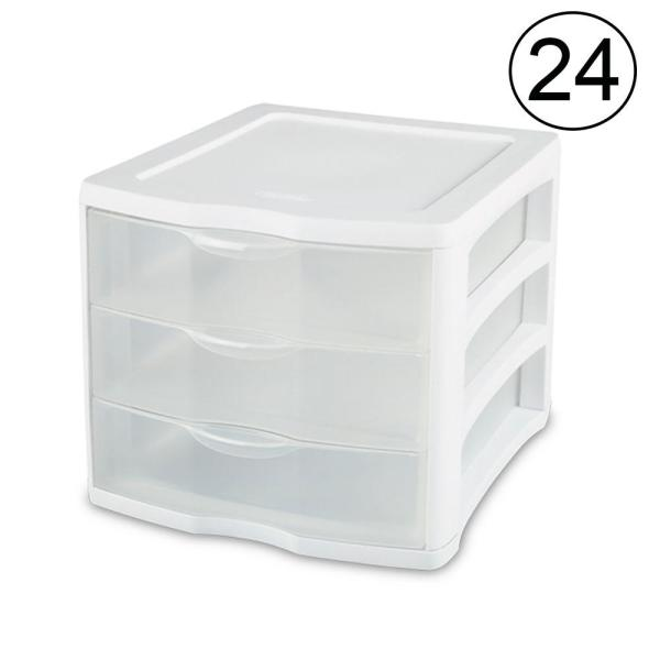 17918004 11 in. x 9.6 in. Compact Portable 3-Storage Drawer Organizer Cabinet (24-Pack)