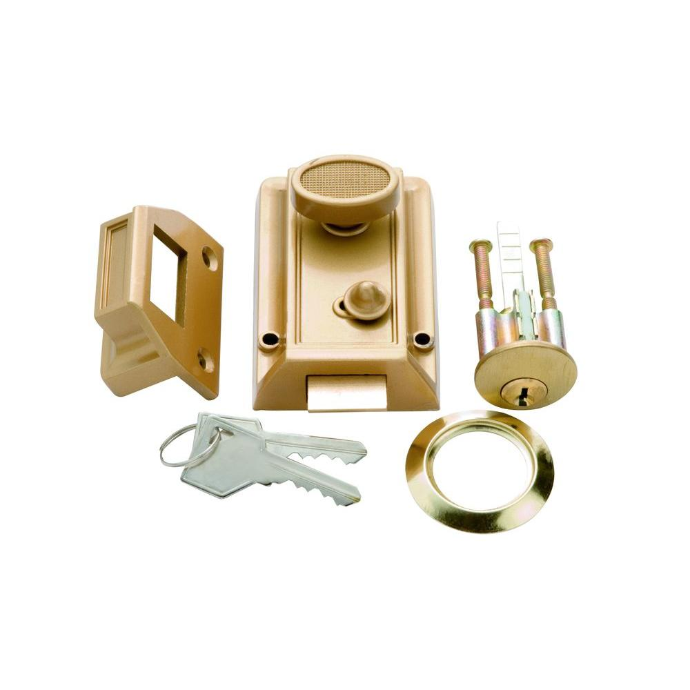 First Watch Security Polished Brass Door Night Latch and Locking Cylinder