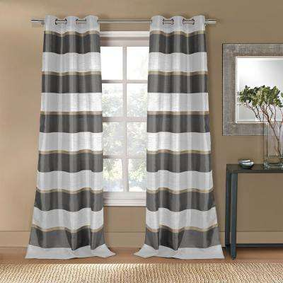 Thia 38in. W x 96 in. L Polyester Window Panel in Grey-Taupe 2-Pack