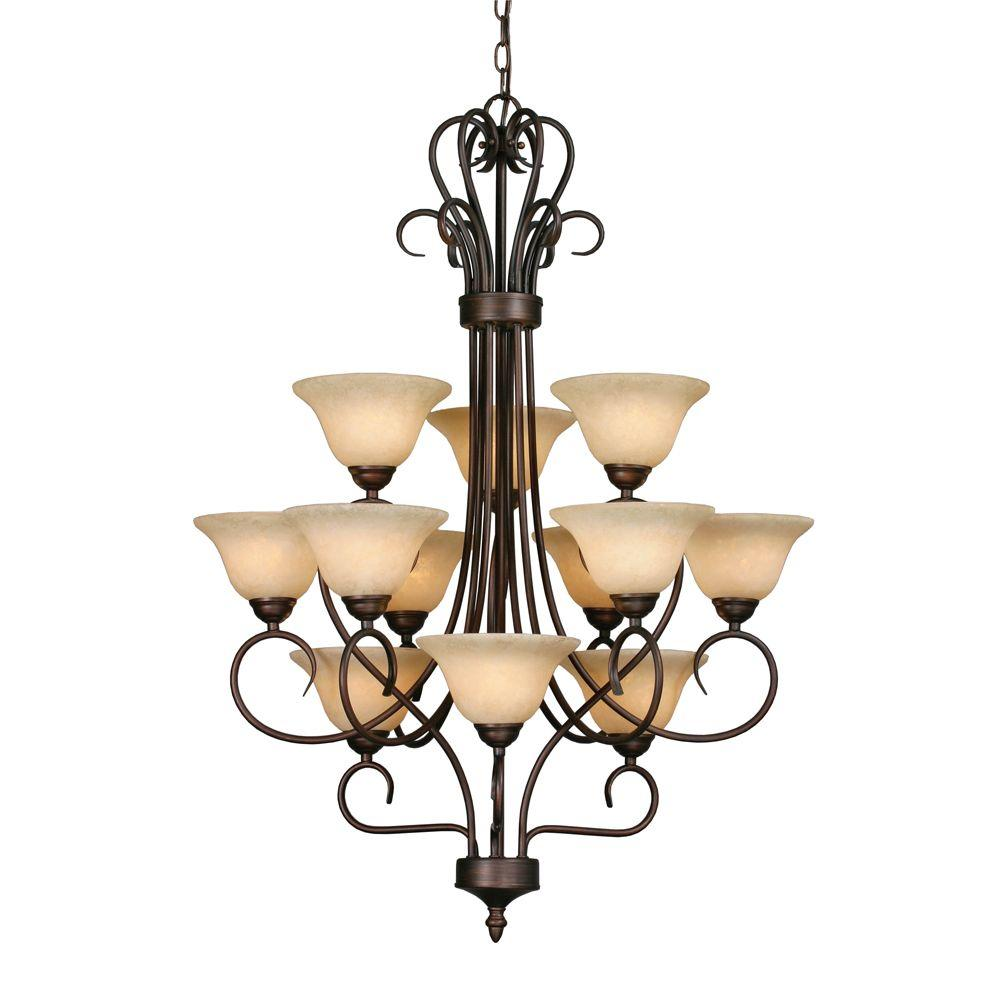 null Maddox Collection 12-Light Rubbed Bronze 3-Tier Chandelier