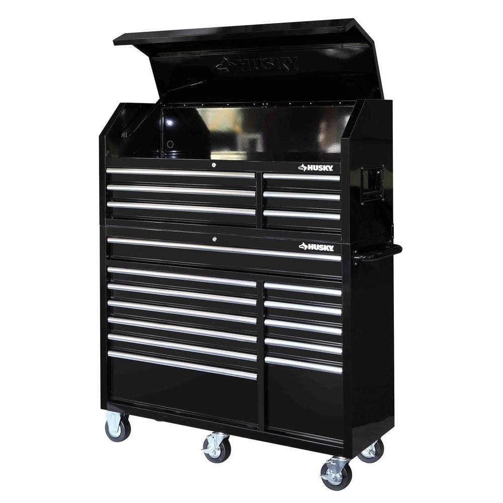 Husky 52 in. 18-Drawer Tool Chest and Rolling Tool Cabinet Set, Black