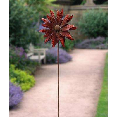 72 in. Red Flower Windmill Stake