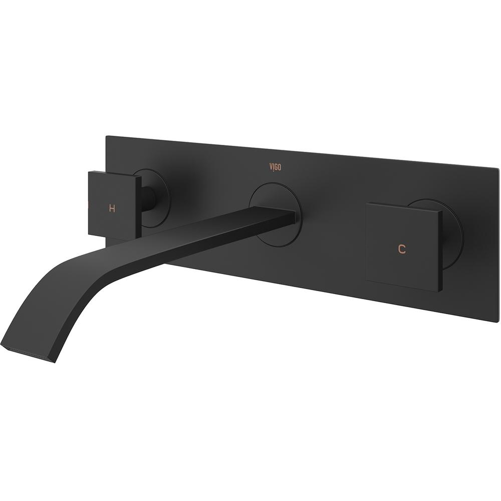 VIGO Titus Single-Handle Wall Mount Bathroom Faucet in Matte Black ...