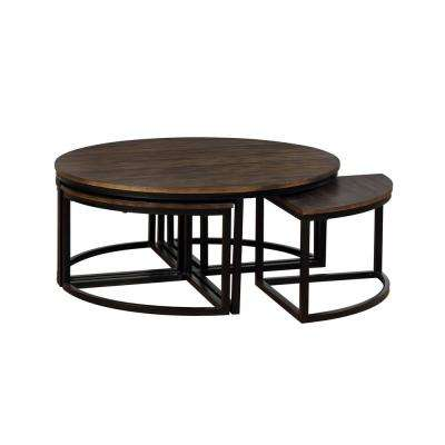 Arcadia Antiqued Mocha 42 in. Acacia Wood Round Coffee Table with Nesting Tables