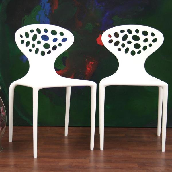 Baxton Studio Durante White Finished Plastic Dining Chairs (Set of 2)