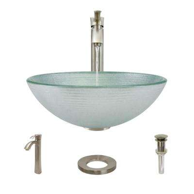 Glass Vessel Sink in Sparkling Silver with R9-7006 Faucet and Pop-Up Drain in Brushed Nickel