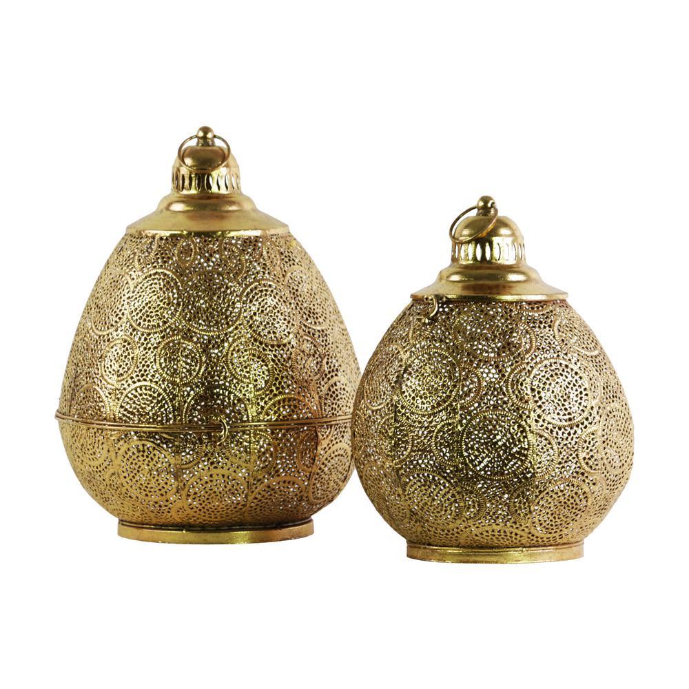 Gold Candle Metal Decorative Lantern