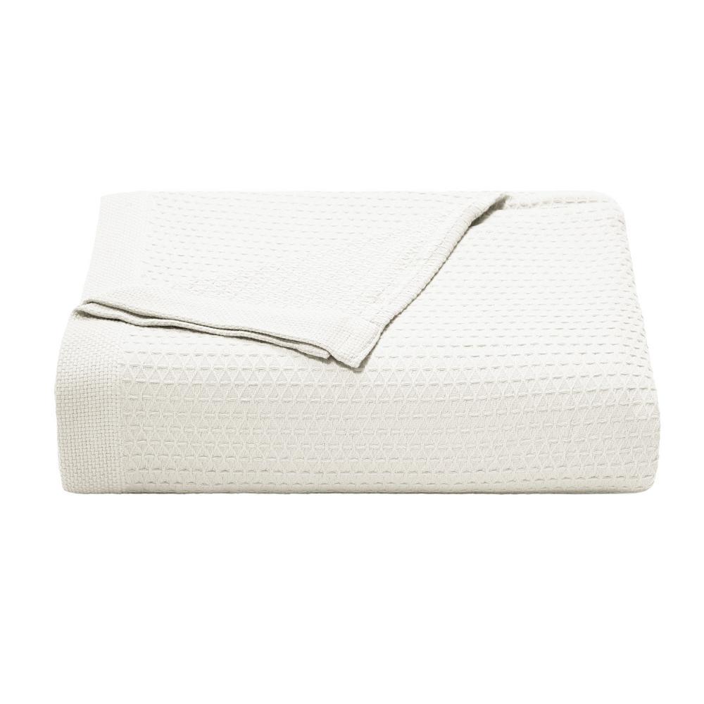 Baird White Cotton Twin Blanket