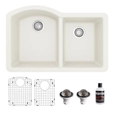 QU-610 Quartz/Granite Composite 32 in. Double Bowl 60/40 Undermount Kitchen Sink with Grids & Basket Strainers in White