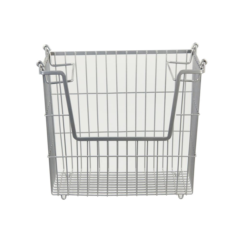 Home Basics 14 in. x 11.5 in. x 9.75 in. Large Stackable Basket