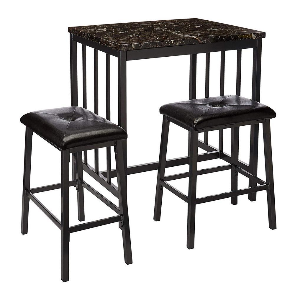 Groovy Benjara Rubber Wood 3 Piece Black Counter Height Table Set Ibusinesslaw Wood Chair Design Ideas Ibusinesslaworg