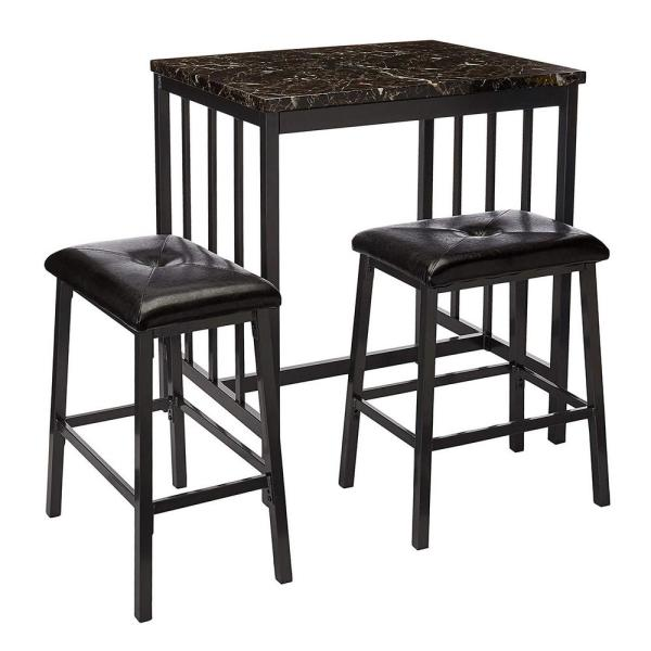 Rubber Wood 3-Piece Black Counter Height Table Set