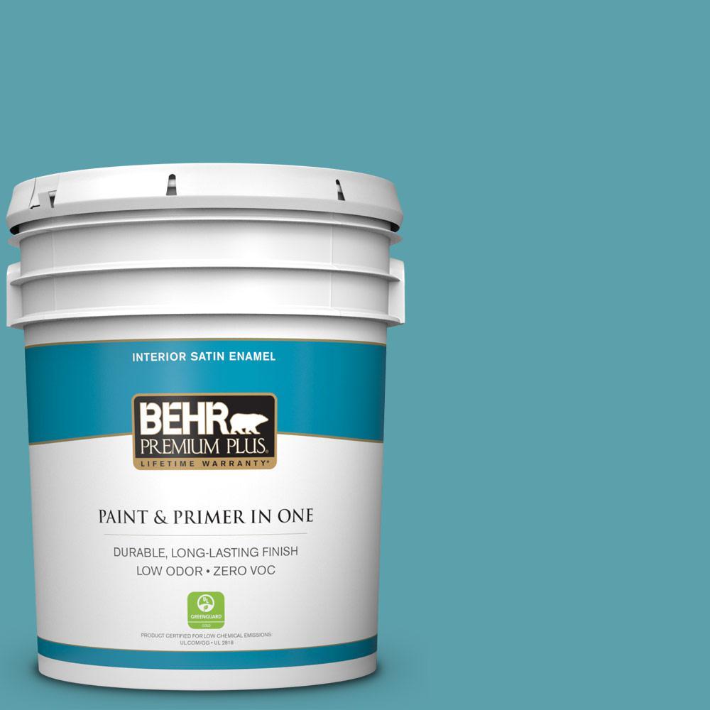 5-gal. #BIC-53 Turquoise Satin Enamel Interior Paint