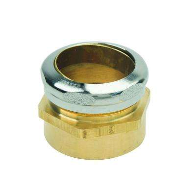 1-1/2 in. O.D. Compression x 1-1/2 in. FIP Brass Waste Connector with Chrome Finish