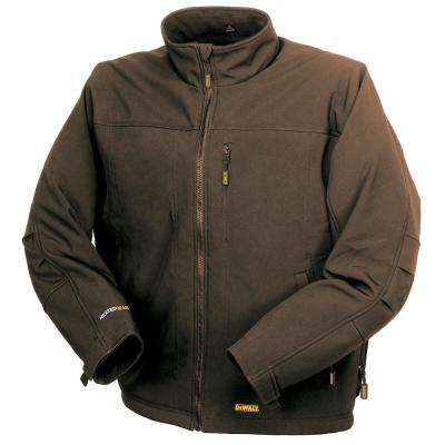 Unisex Large Tobacco Heated Soft Shell Jacket with 20-Volt/2.0 Amp Battery and Charger