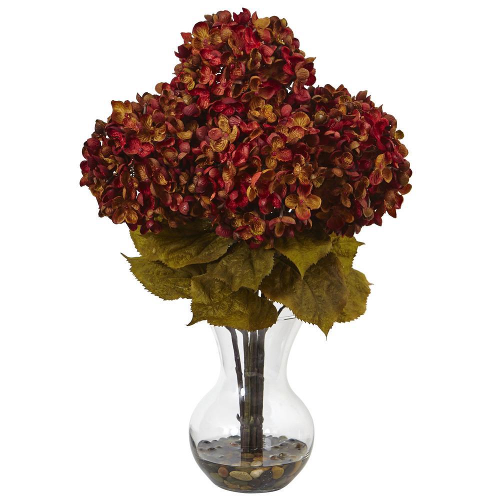 Nearly Natural Hydrangea With Vase Silk Flower Arrangement 1440 Ru