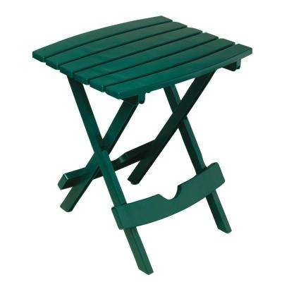 Quik-Fold Hunter Green Resin Plastic Outdoor Side Table