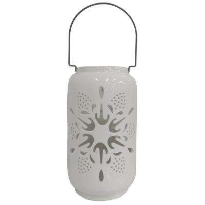 12 in. Candle Holder with White Snowflake Design