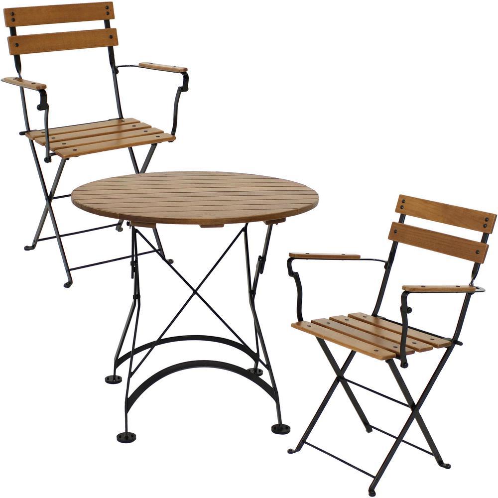 Basic European 3-Piece Wood Outdoor Bistro Set