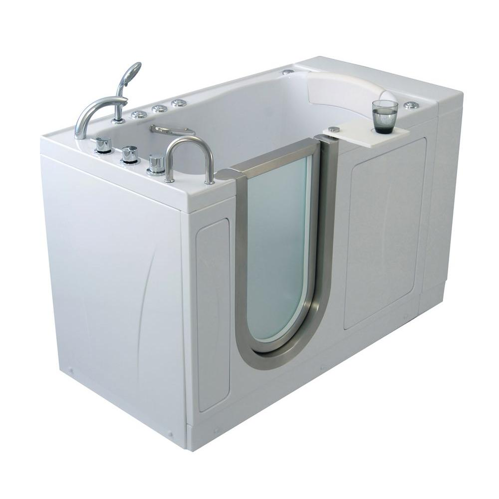 Ella Elite 4.33 ft. x 30 in. Acrylic Walk-In Dual (Air and Hydro) Massage Bathtub in White with Left Drain/Door