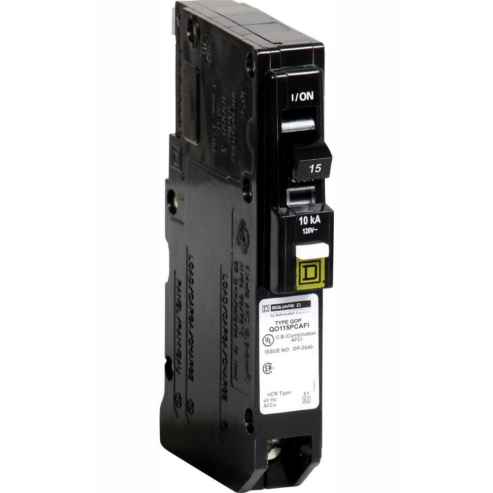 Square D QO 15 Amp Single-Pole Plug-On Neutral Combination Arc Fault on