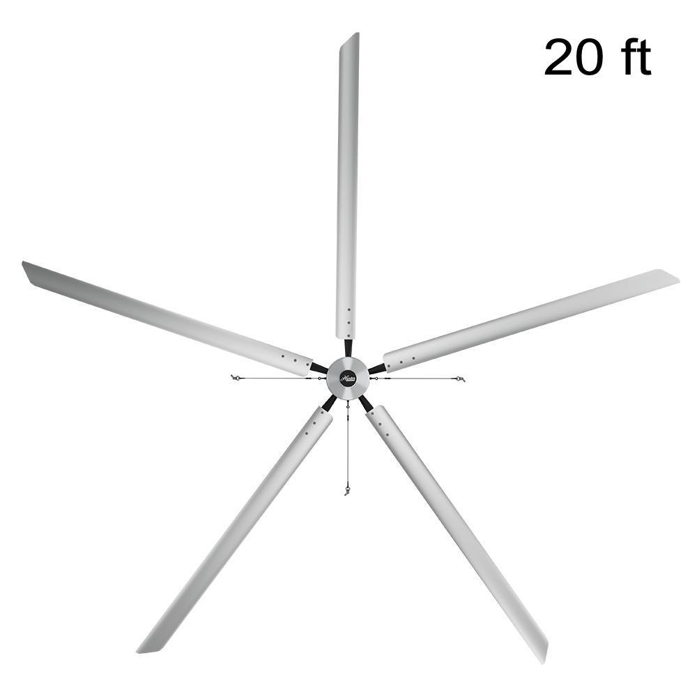Titan 20 ft. 460-Volt Indoor Anodized Aluminum 3 Phase Commercial Ceiling Fan