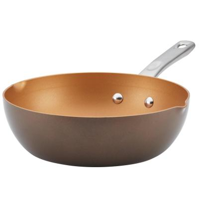 Home Collection 9.75 in. Brown Sugar Porcelain Enamel Non-Stick Chef Pan with Pour Spouts