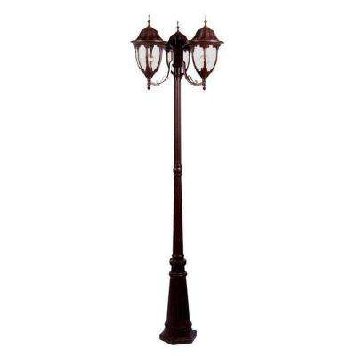 Suffolk 3-Light Burled Walnut Outdoor Surface-Mount Post Fixture