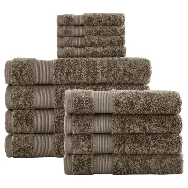 12-Piece Hygrocotton Towel Set in Fawn Brown