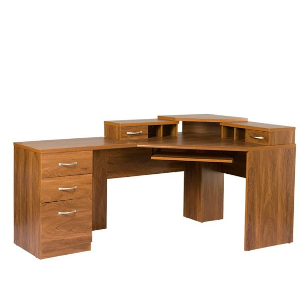 OS Home and Office Furniture 2-Piece Brown Reversible Corner Work Center
