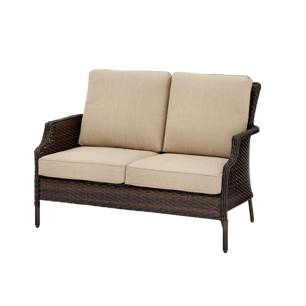 Hampton Bay Grayson Brown Wicker Outdoor Chow Loveseat with Brown Toffee Cushions