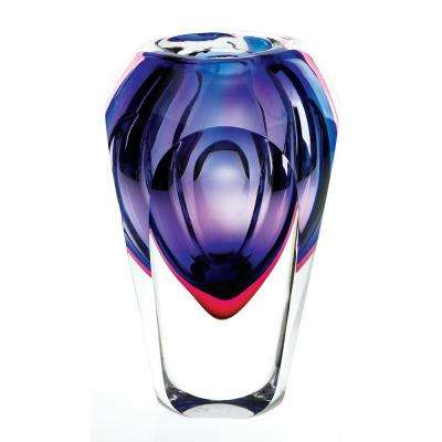 Violet Slice Cut 9 in. High Astra Mouth Blown Thick Walled Decorative Vase