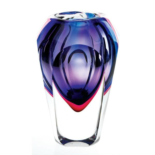 Badash Crystal Violet Slice Cut 9 in. High Astra Mouth Blown Thick Walled Decorative Vase