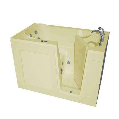 HD Series 54 in. Right Drain Quick Fill Walk-In Whirlpool Bath Tub with Powered Fast Drain in Biscuit