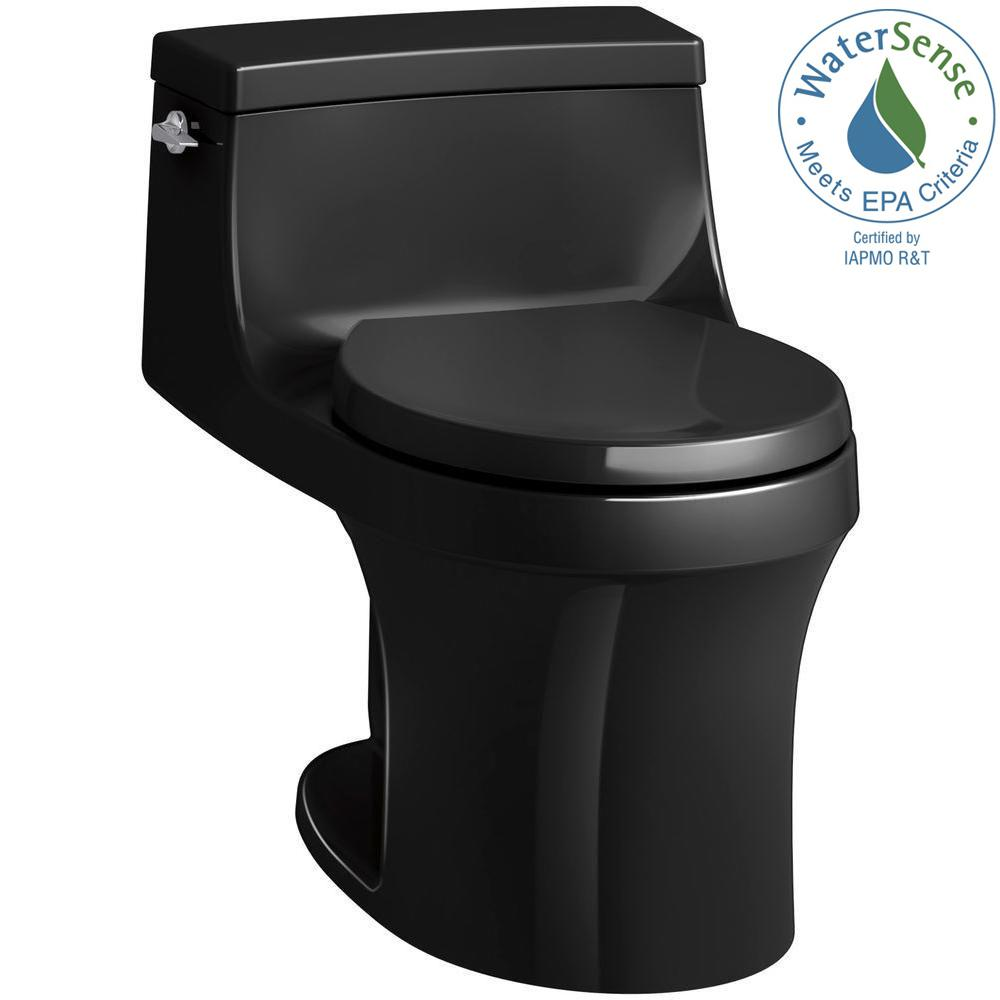 San Souci 1-piece 1.28 GPF Single Flush Round Toilet in Black