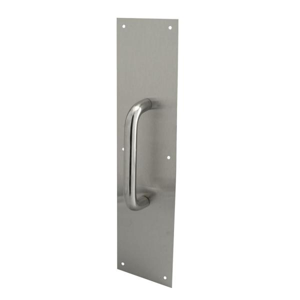 4 in. x 16 in. Stainless Steel, Round Handle Door Pull Plate