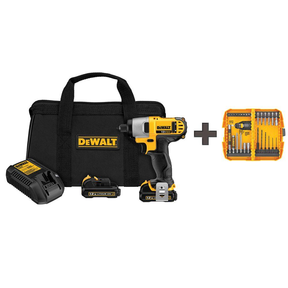 dewalt 12 volt max lithium ion cordless 1 4 in impact driver with batteries 1 5ah charger and. Black Bedroom Furniture Sets. Home Design Ideas