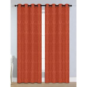 Window Elements Semi-Opaque Veronica Jacquard Extra Wide 84 inch L Grommet Curtain Panel Pair, Rust (Set of 2) by Window Elements