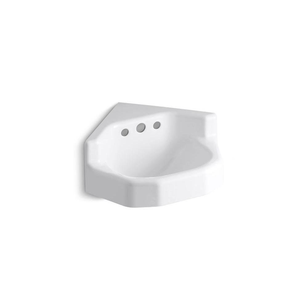 KOHLER Marston Wall-Mount Cast Iron Bathroom Sink in White with Overflow Drain