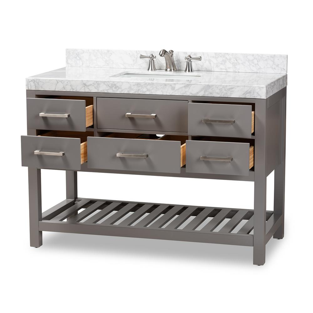 Baxton Studio Yolanda 48 in. W x 34.7 in. H Bath Vanity in Gray with Vanity Top in White with High Gloss White Basin