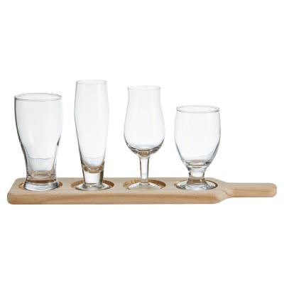 4-Piece Large Beer Glass Set with Wood Stand